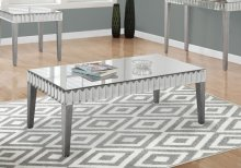 """COFFEE TABLE - 48""""X 24"""" / BRUSHED SILVER / MIRROR"""