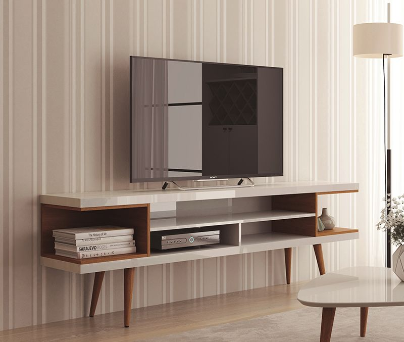 "Utopia 70.47"" TV Stand with Splayed Wooden Legs and 4 Shelves in White Gloss and Maple Cream"