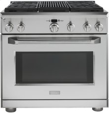 """GE Monogram® 36"""" Dual-Fuel Professional Range with 4 Burners and Grill (Natural Gas)"""