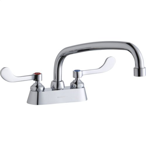 """Elkay 4"""" Centerset with Exposed Deck Faucet with 10"""" Arc Tube Spout 4"""" Wristblade Handles"""