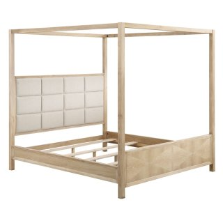 Post Bed-hb Upholstered-fb Panel-canopy-bed Posts-rails-slats 5/0 Queen