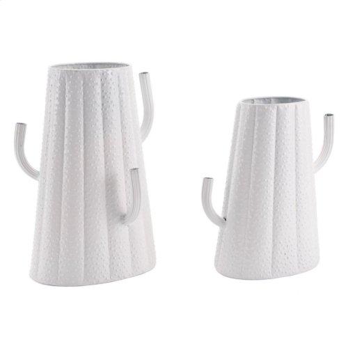 Cactus Metal Vase Lg White