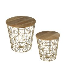 2 pc. set. Nested Gold Storage Basket Side Table. (2 pc. set)
