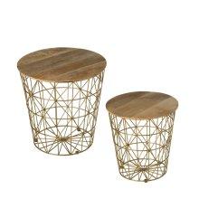 Nested Gold Storage Basket Side Table (2 pc. set)