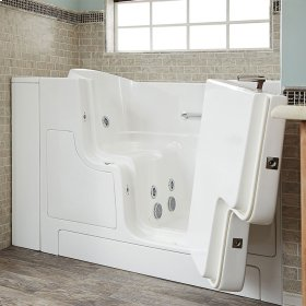 Gelcoat Premium Series 30x52 Walk-in Tub with Whirlpool Massage and Outswing Door, Right Drain  American Standard - Linen