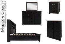 Madison County 4 PC Queen Barn Door Bedroom: Bed, Dresser, Mirror, Nightstand - Vintage Black