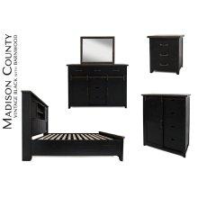 Madison County 5 PC Queen Barn Door Bedroom: Bed, Dresser, Mirror, Nightstand, Chest - Vintage Black