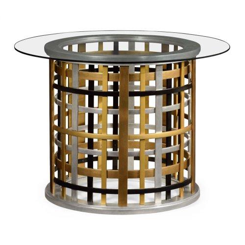 Multi Metal Round Plaid Centre Table