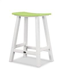 "White & Lime Contempo 24"" Saddle Bar Stool"
