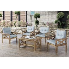 Outdoor 5 Piece Patio Set with Grey Cushions