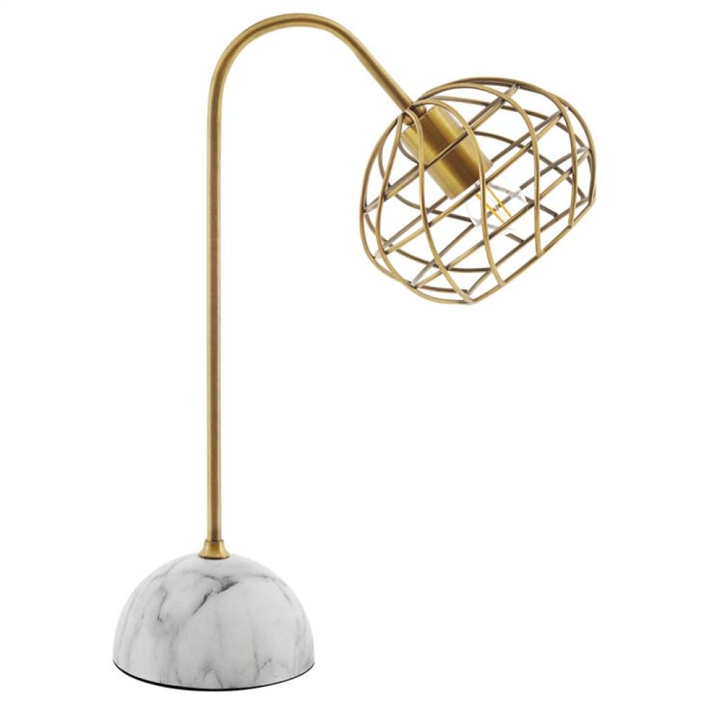 Salient Brass and Faux White Marble Table Lamp