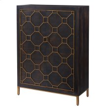 Fairmont Bar Cabinet Antique Gold Legs, Rustic Brown