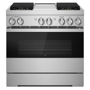 "Jenn-AirNOIR 36"" Dual-Fuel Professional Range with Chrome-Infused Griddle"