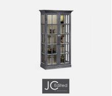 Plank Antique Dark Grey Fully Glazed Bookcase for Strap Handles