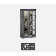 Plank Antique Dark Grey Fully Glazed Bookcase with Strap Handles