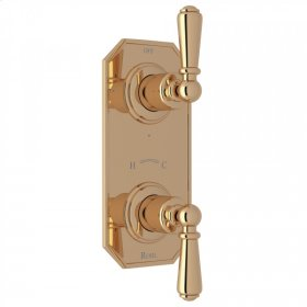 """Unlacquered Brass Perrin & Rowe Edwardian 1/2"""" Thermostatic/Diverter Control Trim with Edwardian Metal Lever"""