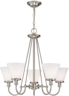 5-lite Chandelier, Ps W/frost Glass Shade, Type A 60wx5