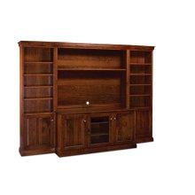 """Colburn Bookcase Unit, 18""""w, Glass Door on Top, Wood Door on Bottom, 4-Adj. Shelves, Antique Glass"""