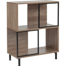 """Paterson Collection 2 Shelf 26""""W x 31.5""""H Bookcase and Storage Cube in Rustic Wood Grain Finish"""