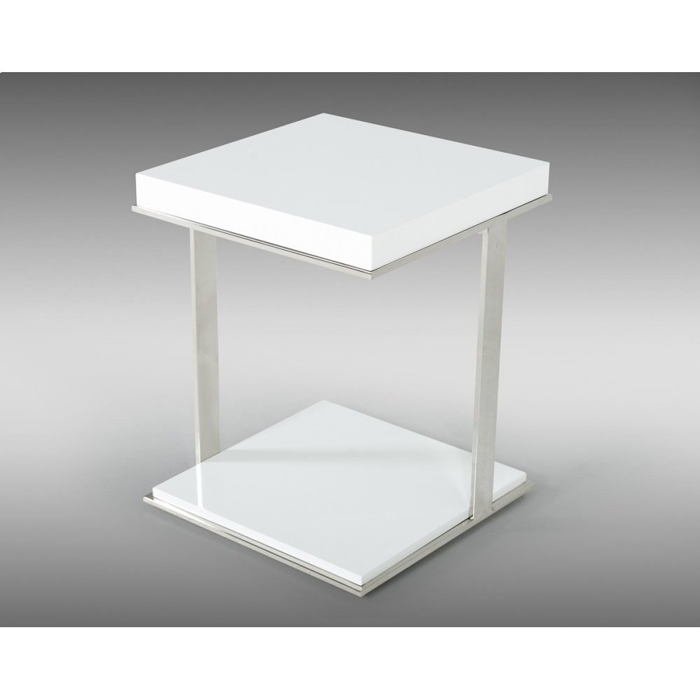 Modrest Optimus Modern White & Stainless Steel End Table