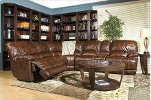 5 Pc. Top Grain Leather Mars Coffee Power Sectional