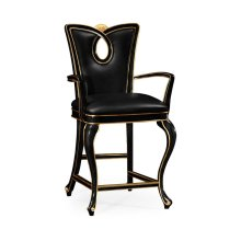 Black Painted Counter Stool (Arm)