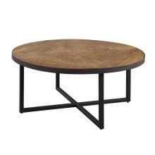 Emerald Home Denton Round Cocktail Table Poplar Top-metal Base Antique Pine T650-00