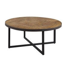 Emerald Home Denton Round Cocktail Table Poplar Top-metal Base Antique Pine T650-00