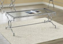 COFFEE TABLE - SILVER METAL WITH TEMPERED GLASS