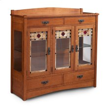 Grant 3-Door Dining Cabinet, 3 Doors with Plain Glass Doors and Ends