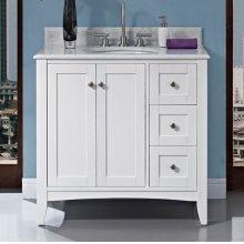 "Shaker Americana 36"" Vanity Drawer - right - Polar White"