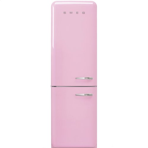 50'S Retro Style refrigerator with automatic freezer, Pink, Left hand hinge