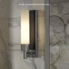 """Decorative Glass 3-1/8"""" X 11-5/8"""" X 3-13/16"""" Sconce In Chrome With Matte Black Glass Insert"""