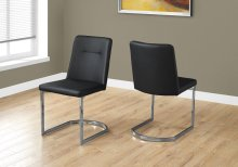 "DINING CHAIR - 2PCS / 34""H / BLACK LEATHER-LOOK / CHROME"