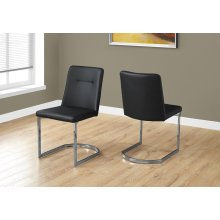 """DINING CHAIR - 2PCS / 34""""H / BLACK LEATHER-LOOK / CHROME"""