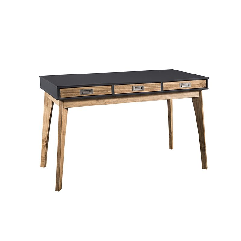 Rustic Mid-Century Modern 3-Drawer Jackie Home Office Desk in Dark Grey and Natural Wood