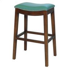 Elmo Bonded Leather Bar Stool, Turquoise