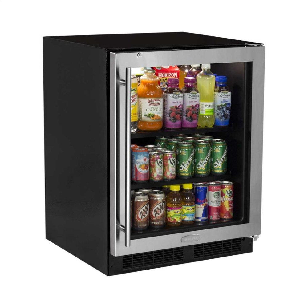 24 Ada Height Beverage Center Stainless Frame Glass