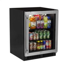 "24"" ADA Height Beverage Center - Stainless Frame Glass Door - Right Hinge"