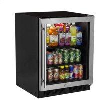 """FLOOR MODEL 24"""" ADA Height Beverage Center - Stainless Frame Glass Door - Right Hinge"""