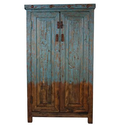 ZGOVE156TQ In By L.M.T. Rustic And Western Imports In San Antonio, TX    Turquoise Color Wash Old Wood Two Door Cabinet