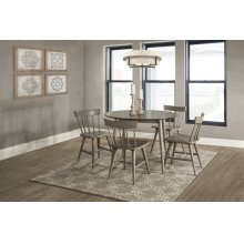 Mayson 5-piece Round Dining Set With 4 Spindle Back Chairs - Gray With Chocolate Finish Top