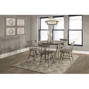 Hillsdale FurnitureMayson 5-piece Round Dining Set With 4 Spindle Back Chairs - Gray With Chocolate Finish Top