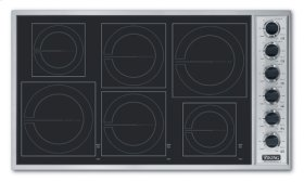 """Stainless Steel/Black Glass 36"""" All-Induction Cooktop - VICU (36"""" wide cooktop)"""