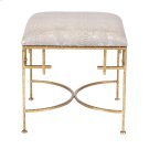 Hammered Gold Leaf Stool W. Faux Snakeskin Upholstered Top. Product Image