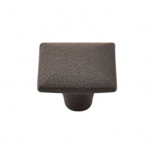 Square Iron Knob Smooth 1 3/8 Inch - Rust