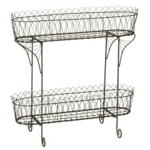 Grey Arch Wire Two Tier Plant Stand