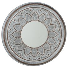 Washed Galvanized Stamped Medallion Wall Mirror.
