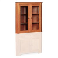 "Shaker Closed Corner Hutch Top, 33 3/4"", Antique Glass Product Image"