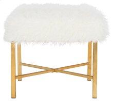 Horace Faux Sheepskin X- Square Bench - White